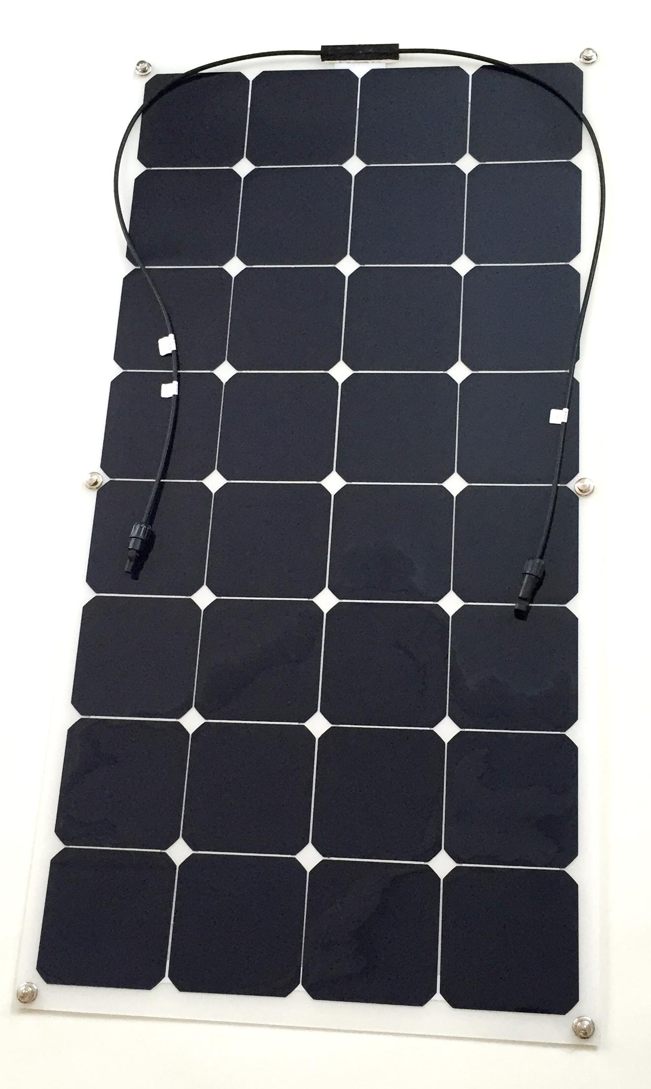 SolarFlexx 100 watt flexiable solar Panel canvas mount solution